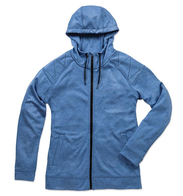 giacca con cappuccio da uomo blu melange