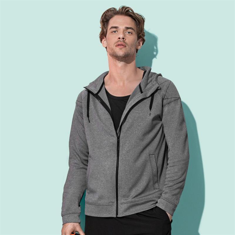 giacca con cappuccio da uomo stone melange