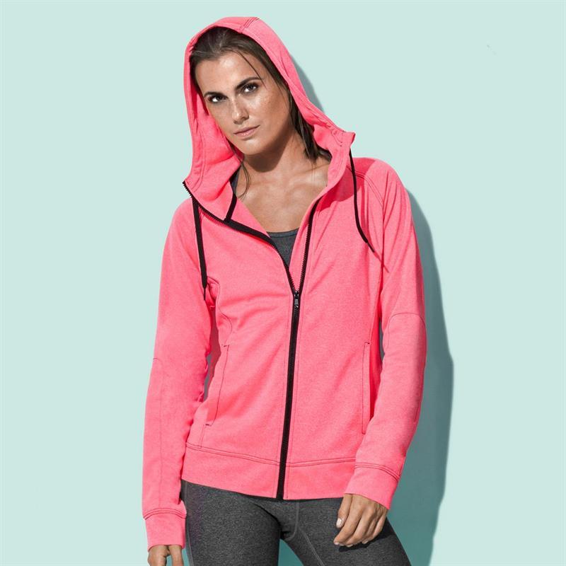 giacca con cappuccio da donna corallo melange
