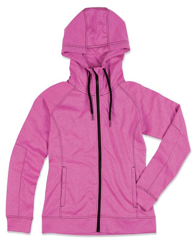 giacca con cappuccio da donna rosa melange