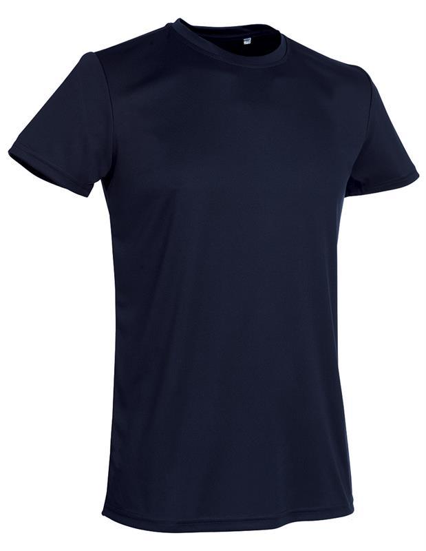 t-shirt con girocollo da uomo in poliestere blu notte