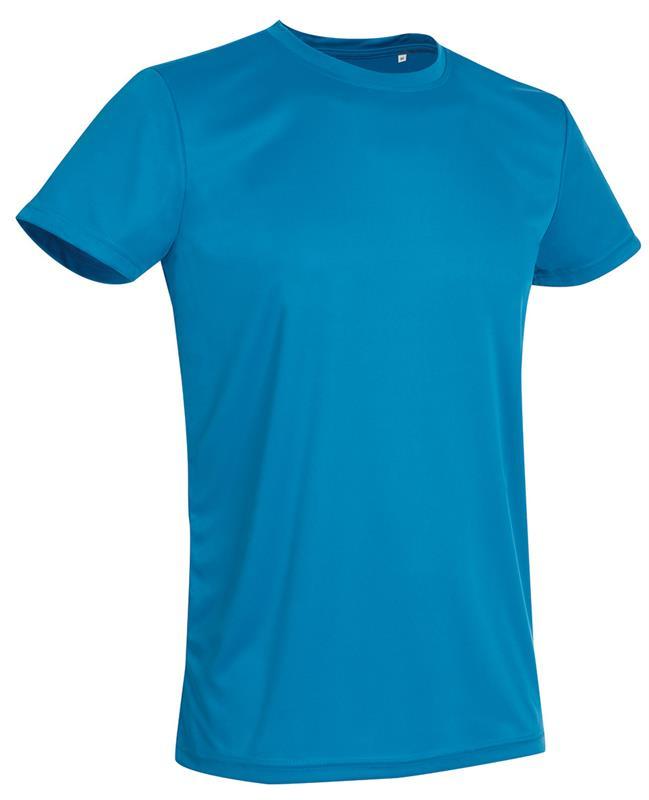 t-shirt con girocollo da uomo in poliestere blu chiaro