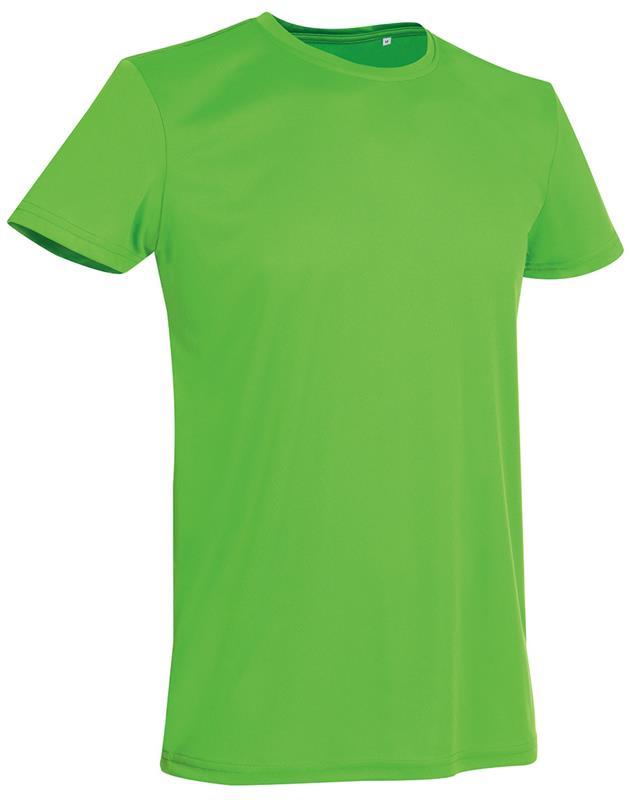 t-shirt con girocollo da uomo in poliestere verde kiwi