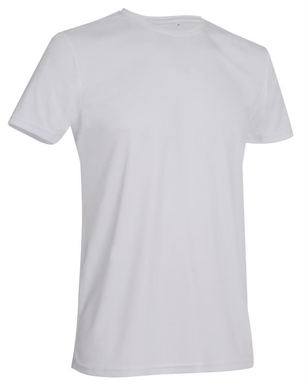 t-shirt con girocollo da uomo in poliestere bianco