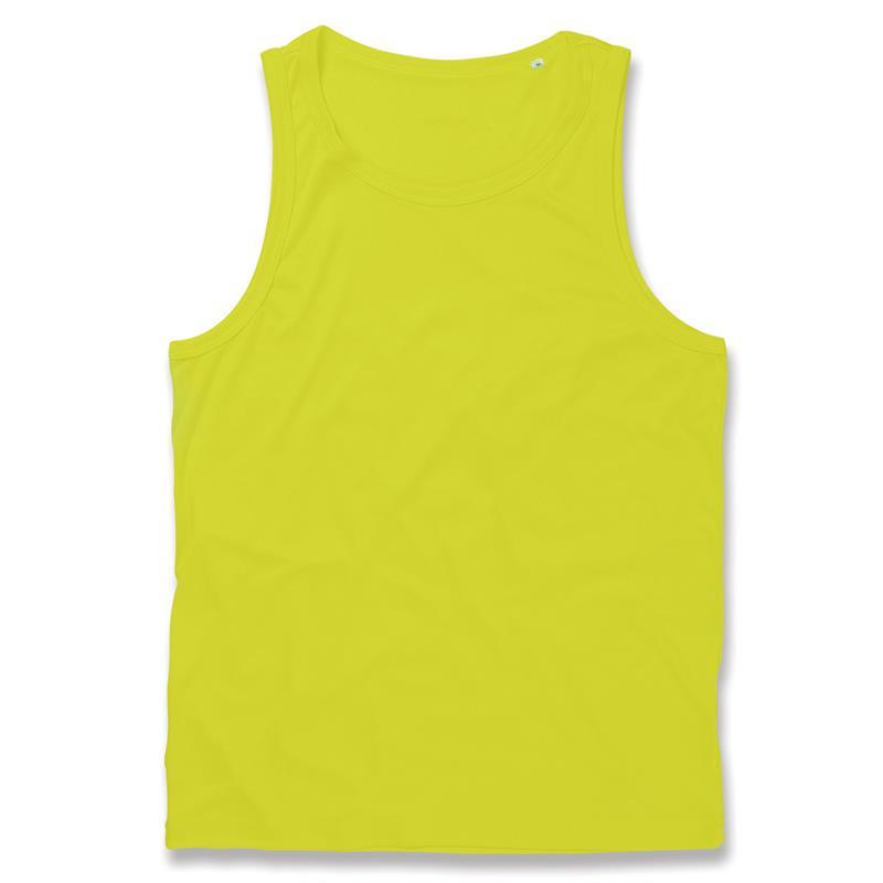 t-shirt senza maniche da uomo in poliestere giallo