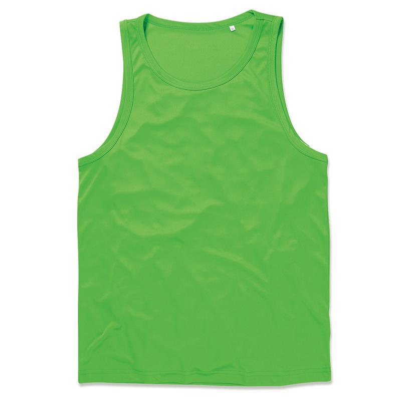 t-shirt senza maniche da uomo in poliestere verde kiwi