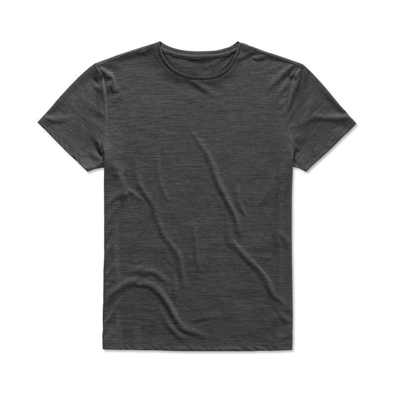 t-shirt da uomo in poliestere antracite effetto melange
