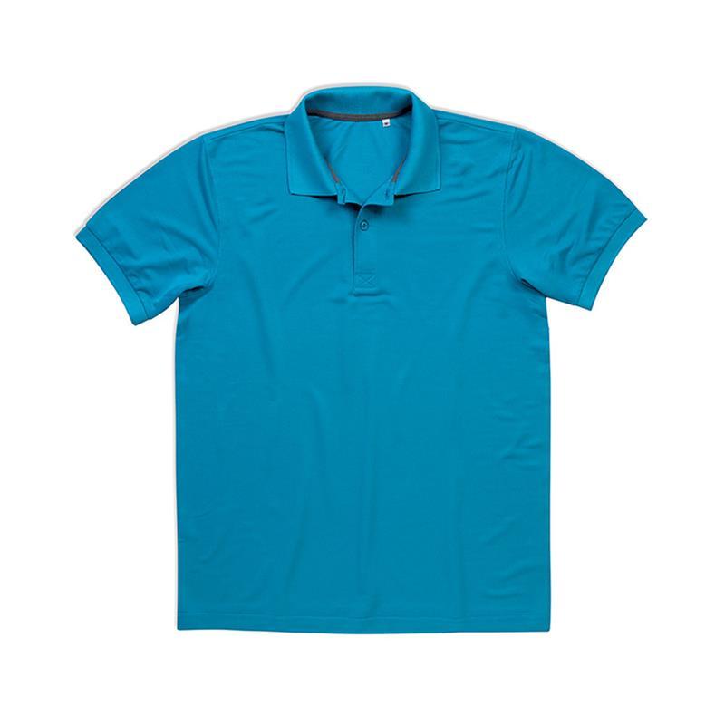 polo manica corta da uomo in poliestere blu chiaro