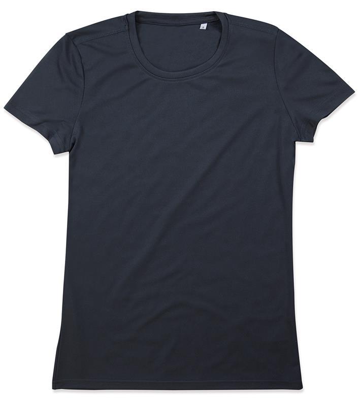 t-shirt con girocollo da donna in poliestere blu notte