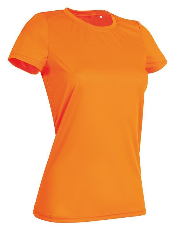 t-shirt con girocollo da donna in poliestere arancio