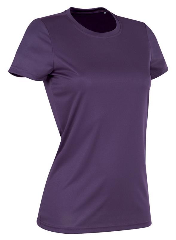 t-shirt con girocollo da donna in poliestere viola