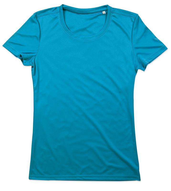 t-shirt con girocollo da donna in poliestere blu chiaro