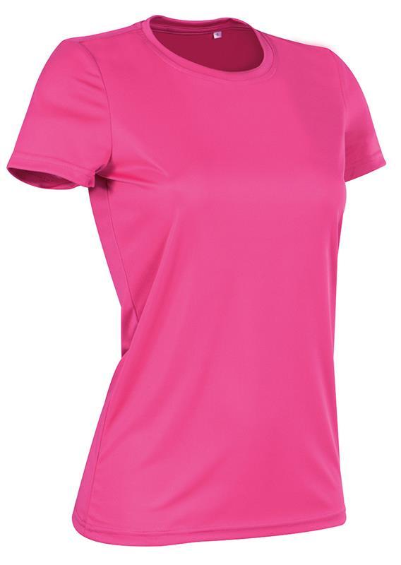 t-shirt con girocollo da donna in poliestere rosa