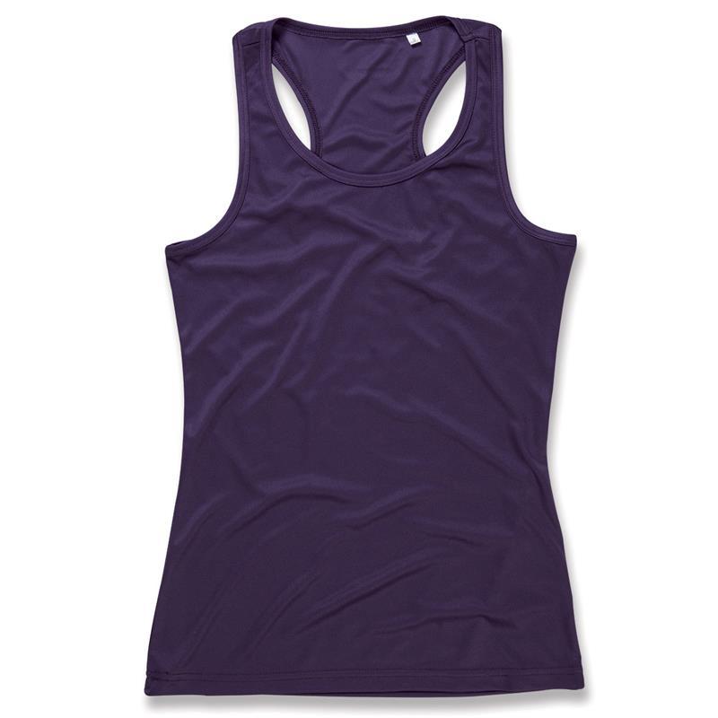 t-shirt spalla all'americana da donna in poliestere viola