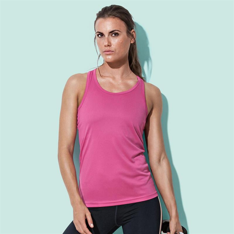 t-shirt spalla all'americana da donna in poliestere rosa