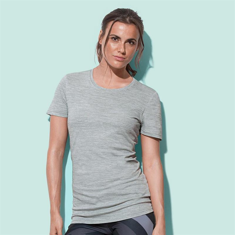 t-shirt da donna in poliestere grigio effetto melange