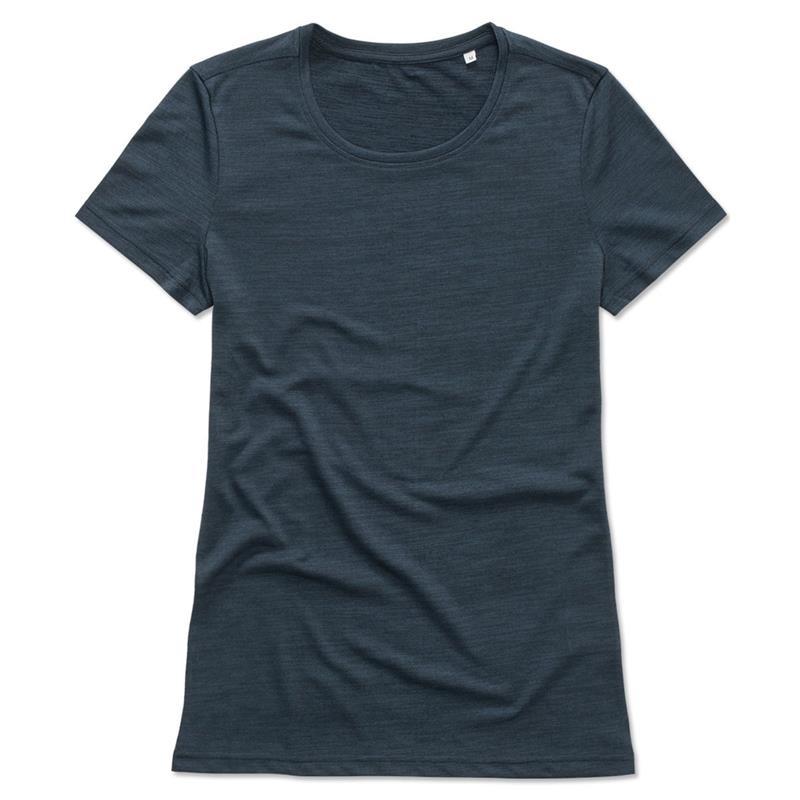 t-shirt da donna in poliestere blu marino effetto melange