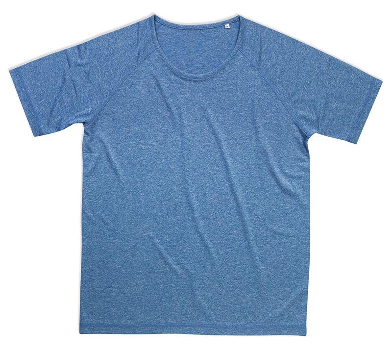 t-shirt da uomo con girocollo manica corta blu melange