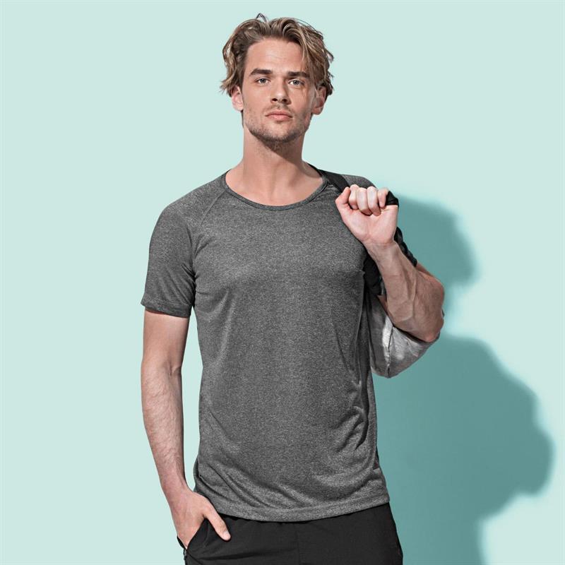 t-shirt da uomo con girocollo manica corta marrone melange