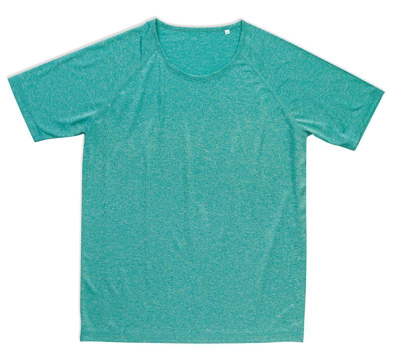 t-shirt da uomo con girocollo manica corta turchese melange