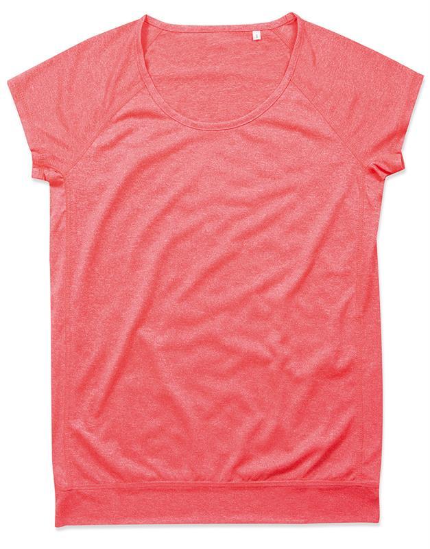 t-shirt da donna con girocollo manica corta corallo melange