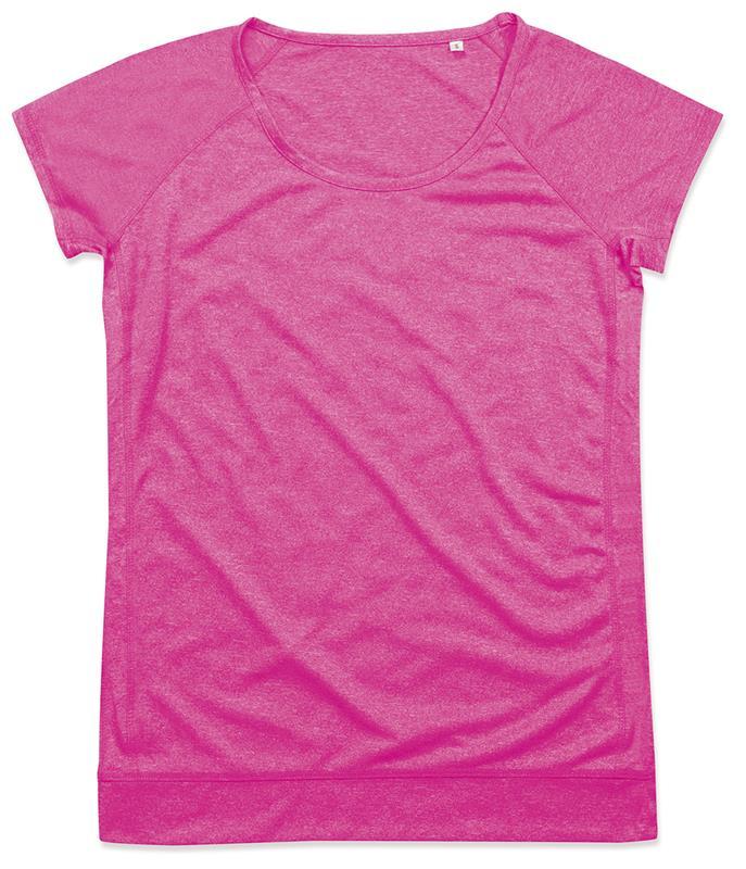 t-shirt da donna con girocollo manica corta rosa melange
