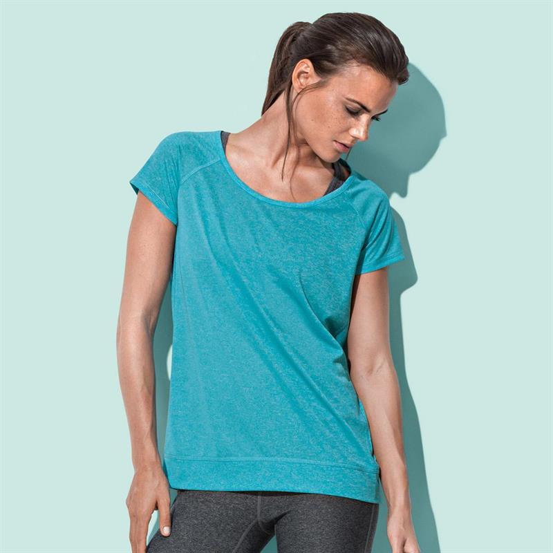 t-shirt da donna con girocollo manica corta turchese melange