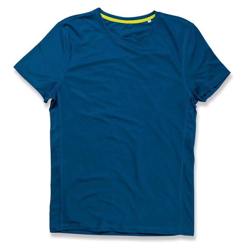 t-shirt con girocollo da uomo in poliestere blu reale