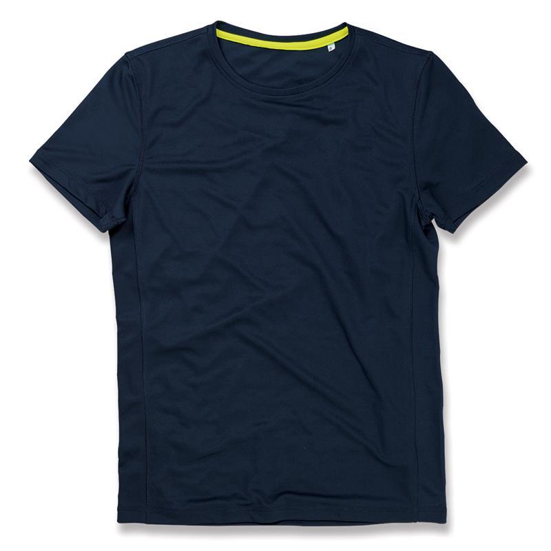 t-shirt con girocollo da uomo in poliestere blu marino