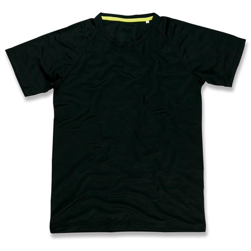 t-shirt da uomo in poliestere nero manica raglan