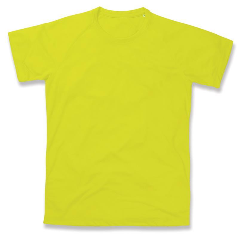 t-shirt da uomo in poliestere gialla manica raglan