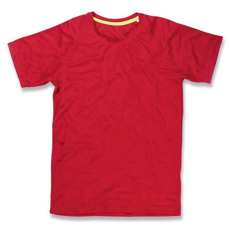 t-shirt da uomo in poliestere rossa manica raglan