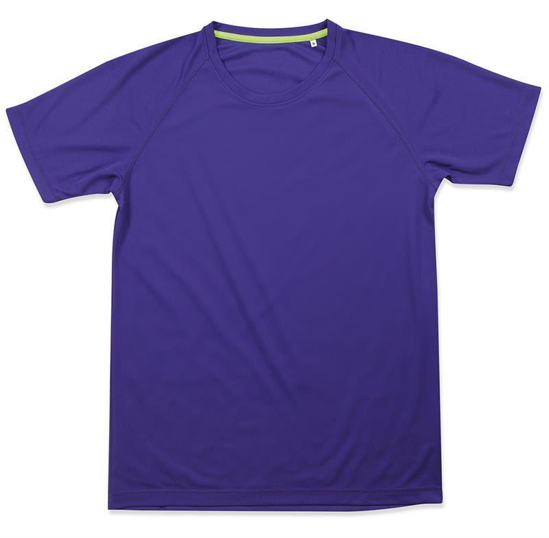 t-shirt da uomo in poliestere viola manica raglan