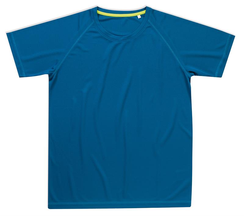 t-shirt da uomo in poliestere blu reale manica raglan