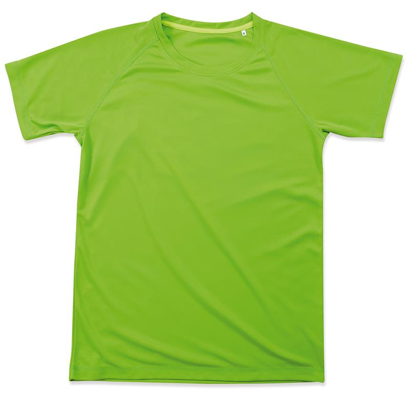 t-shirt da uomo in poliestere verde kiwi manica raglan