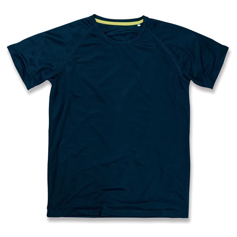 t-shirt da uomo in poliestere blu marino manica raglan