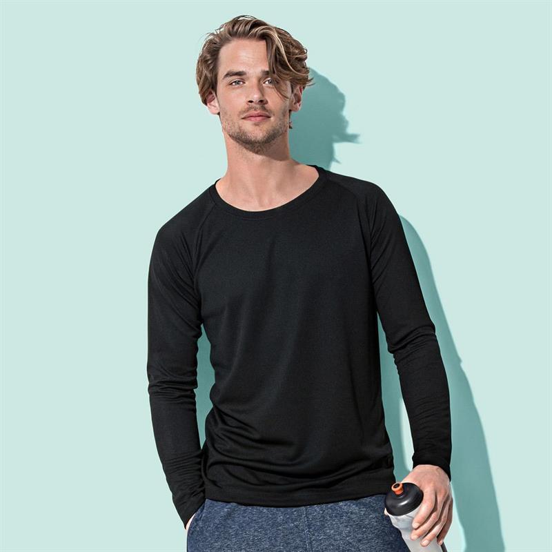 t-shirt manica lunga da uomo in poliestere nero