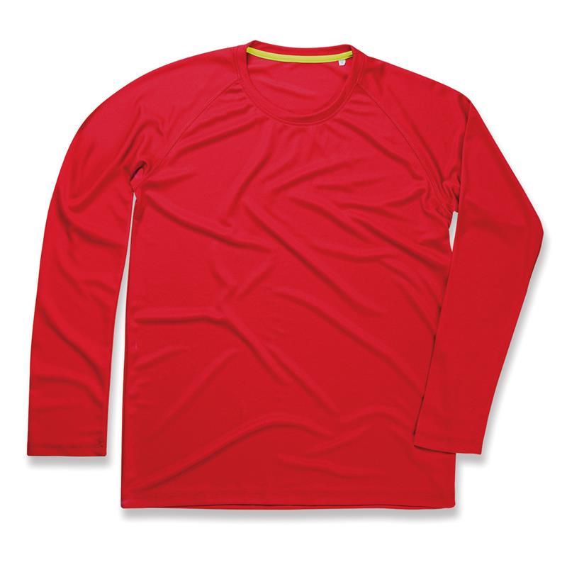 t-shirt manica lunga da uomo in poliestere rosso