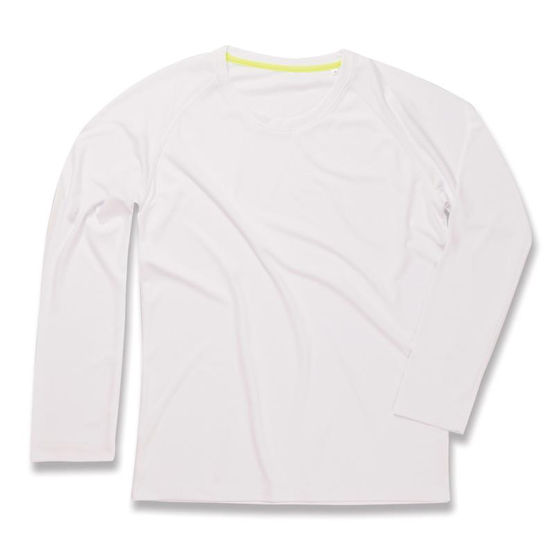 t-shirt manica lunga da uomo in poliestere bianco