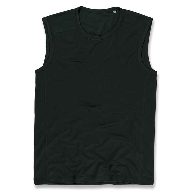 t-shirt senza maniche da uomo in poliestere nero