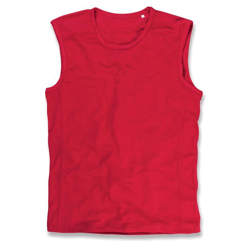 t-shirt senza maniche da uomo in poliestere rosso