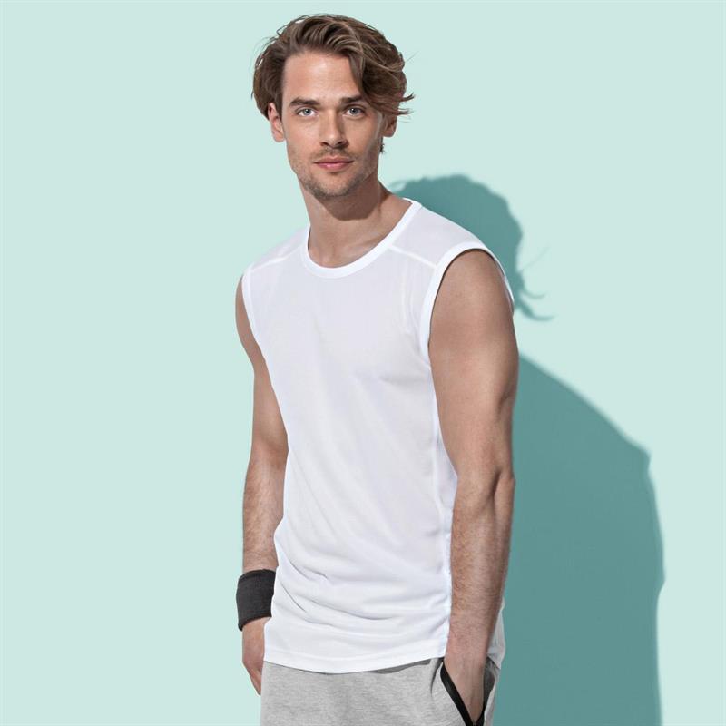 t-shirt senza maniche da uomo in poliestere bianco