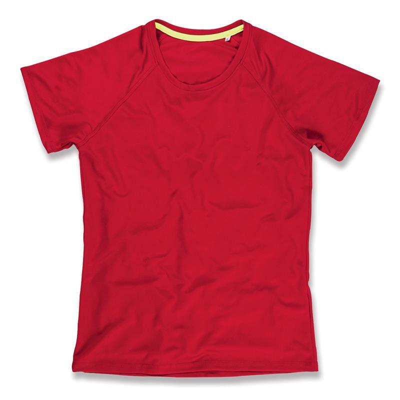 t-shirt da donna in poliestere rossa manica raglan