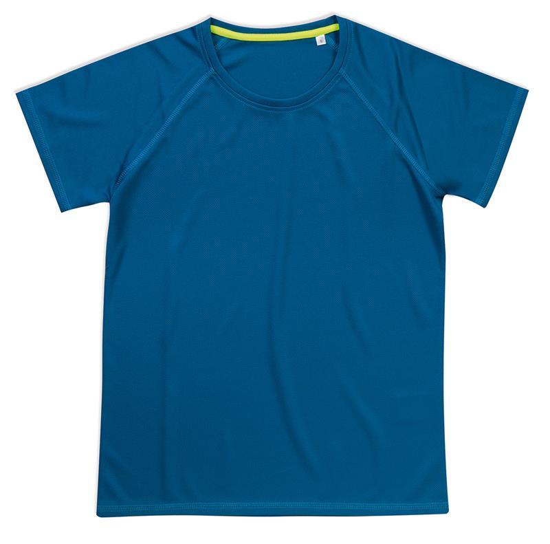 t-shirt da donna in poliestere blu reale manica raglan
