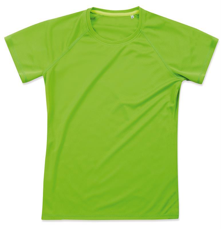 t-shirt da donna in poliestere verde kiwi manica raglan
