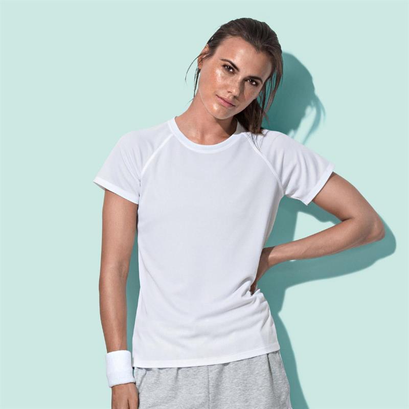 t-shirt da donna in poliestere bianco manica raglan