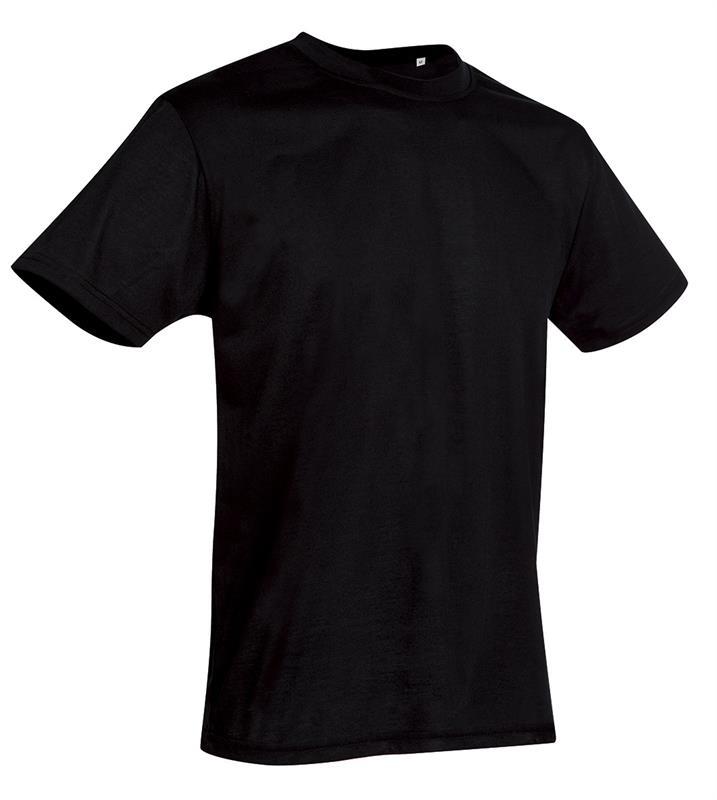 t-shirt con girocollo da uomo in poliestere nero