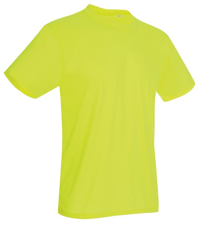 t-shirt con girocollo da uomo in poliestere giallo