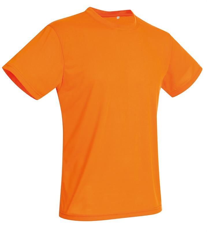t-shirt con girocollo da uomo in poliestere arancio
