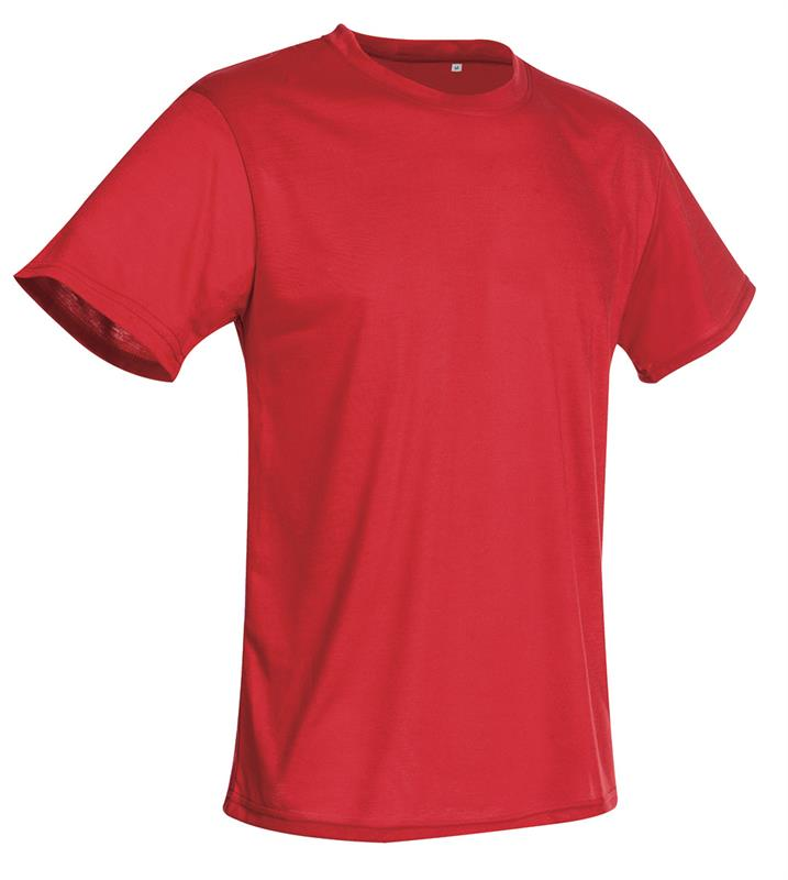t-shirt con girocollo da uomo in poliestere rosso